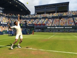 Federer strekt zich eens goed uit om een ace te slaan.