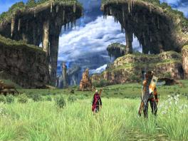 De wereld van Xenoblade ziet er fantastisch uit en is heel groot, met mooie uitzichten!
