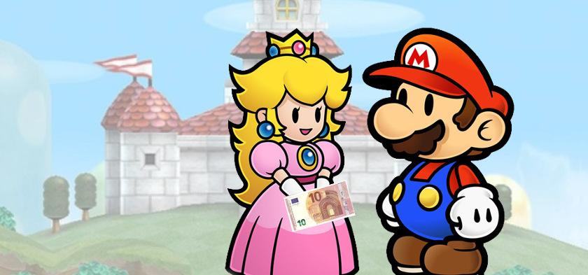 Mario krijgt 10 euro van Peach